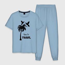 Пижама хлопковая мужская Время путешествовать цвета мягкое небо — фото 1
