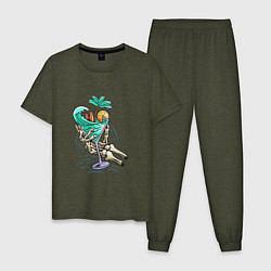 Пижама хлопковая мужская Тропики в моём бакале цвета меланж-хаки — фото 1