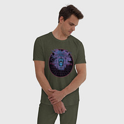 Пижама хлопковая мужская Vaporwave Lion Голова льва цвета меланж-хаки — фото 2