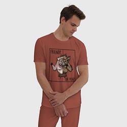 Пижама хлопковая мужская Friend of foe? цвета кирпичный — фото 2