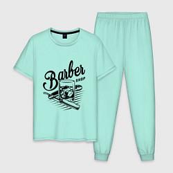 Пижама хлопковая мужская Barber shop цвета мятный — фото 1