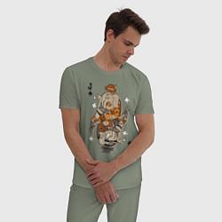 Пижама хлопковая мужская Джокер цвета авокадо — фото 2