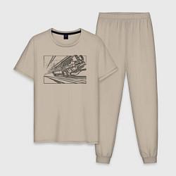 Пижама хлопковая мужская Dl цвета миндальный — фото 1