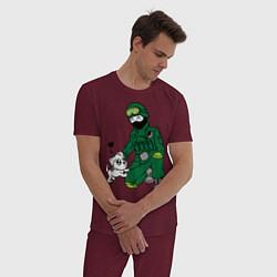 Пижама хлопковая мужская Вежливый солдат цвета меланж-бордовый — фото 2