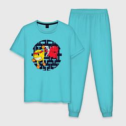 Пижама хлопковая мужская Pac-Man цвета бирюзовый — фото 1