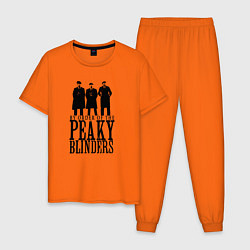 Пижама хлопковая мужская Джонни, Томас и Артур Шелби цвета оранжевый — фото 1