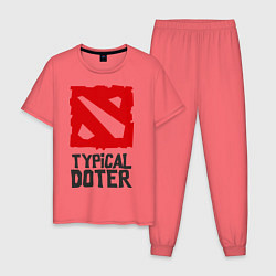 Пижама хлопковая мужская Typical Doter цвета коралловый — фото 1