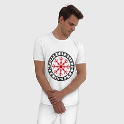 Пижама хлопковая мужская Руна Aegishjalmur (Шлем ужаса) цвета белый — фото 2