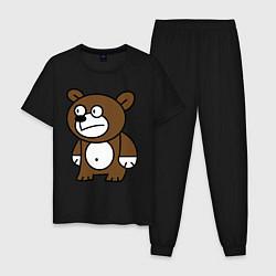 Пижама хлопковая мужская Странный мишка цвета черный — фото 1