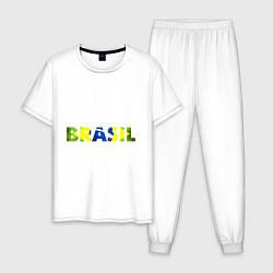Пижама хлопковая мужская BRASIL 2014 цвета белый — фото 1