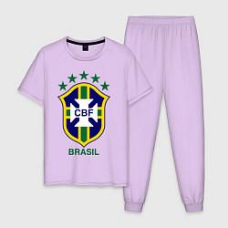 Пижама хлопковая мужская Brasil CBF цвета лаванда — фото 1