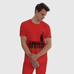Пижама хлопковая мужская Armin van buuren цвета красный — фото 2