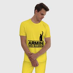 Пижама хлопковая мужская Armin van buuren цвета желтый — фото 2