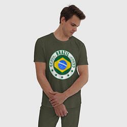 Пижама хлопковая мужская Brazil 2014 цвета меланж-хаки — фото 2