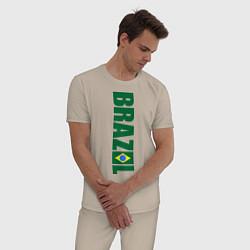 Пижама хлопковая мужская Brazil Football цвета миндальный — фото 2