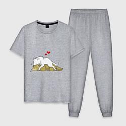 Пижама хлопковая мужская Волчья любовь цвета меланж — фото 1