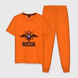 Пижама хлопковая мужская Russia цвета оранжевый — фото 1