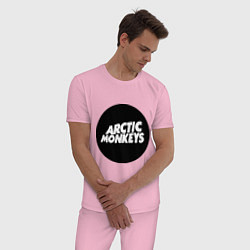 Пижама хлопковая мужская Arctic Monkeys Round цвета светло-розовый — фото 2