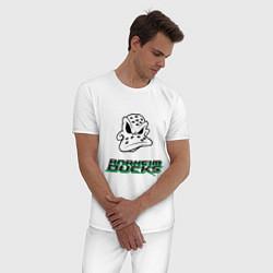 Пижама хлопковая мужская HC Anaheim Ducks Art цвета белый — фото 2