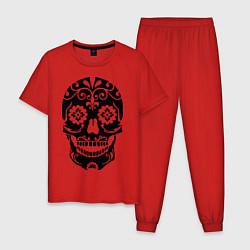 Пижама хлопковая мужская Расписной череп цвета красный — фото 1