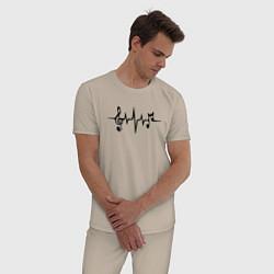 Пижама хлопковая мужская Heartbeat Music цвета миндальный — фото 2