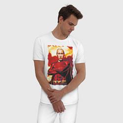 Пижама хлопковая мужская Путин супергерой цвета белый — фото 2