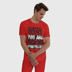 Пижама хлопковая мужская Suicide Silence: You are Fucking цвета красный — фото 2