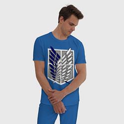 Пижама хлопковая мужская Эмблема разведчиков. Вторжение титанов цвета синий — фото 2