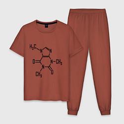 Пижама хлопковая мужская Кофеин формула цвета кирпичный — фото 1
