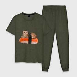 Пижама хлопковая мужская Котосуши цвета меланж-хаки — фото 1