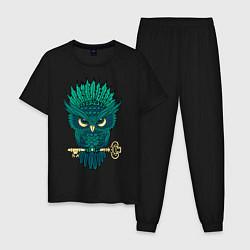 Пижама хлопковая мужская Сова с ключом цвета черный — фото 1