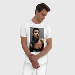 Пижама хлопковая мужская Rihanna: portrait цвета белый — фото 2