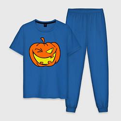 Пижама хлопковая мужская Подмигивающая тыква цвета синий — фото 1