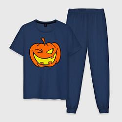 Пижама хлопковая мужская Подмигивающая тыква цвета тёмно-синий — фото 1