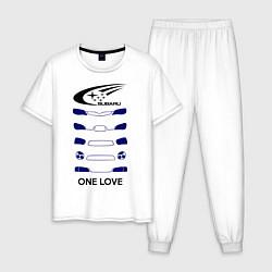 Пижама хлопковая мужская One love subaru цвета белый — фото 1