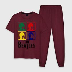 Пижама хлопковая мужская The Beatles: Colors цвета меланж-бордовый — фото 1