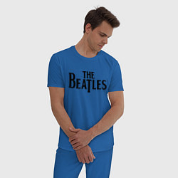 Пижама хлопковая мужская The Beatles цвета синий — фото 2