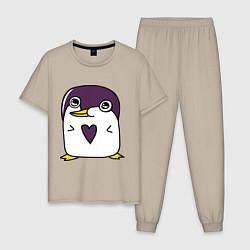 Пижама хлопковая мужская Нарисованный пингвин цвета миндальный — фото 1