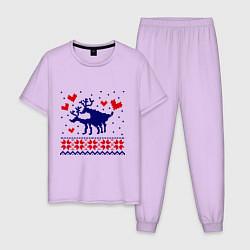 Пижама хлопковая мужская Любовь оленей цвета лаванда — фото 1