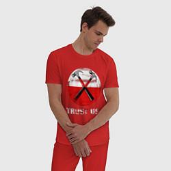 Пижама хлопковая мужская Pink Floyd: Trust us цвета красный — фото 2
