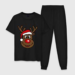 Пижама хлопковая мужская Рождественский олень цвета черный — фото 1