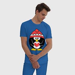 Пижама хлопковая мужская Пингвин с сердцем цвета синий — фото 2