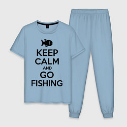 Пижама хлопковая мужская Keep Calm & Go fishing цвета мягкое небо — фото 1