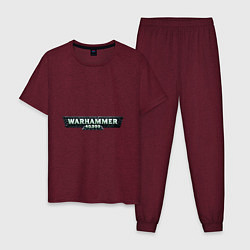 Пижама хлопковая мужская Warhammer 40 000 цвета меланж-бордовый — фото 1