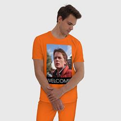 Пижама хлопковая мужская Welcome to the future цвета оранжевый — фото 2