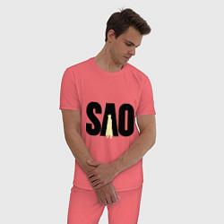 Пижама хлопковая мужская SAO цвета коралловый — фото 2