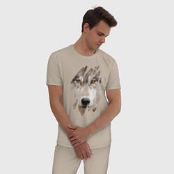 Пижама хлопковая мужская Волк - моё второе Я цвета миндальный — фото 2