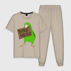Пижама хлопковая мужская Bird Nerd цвета миндальный — фото 1