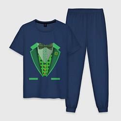 Пижама хлопковая мужская Ирландский костюм цвета тёмно-синий — фото 1