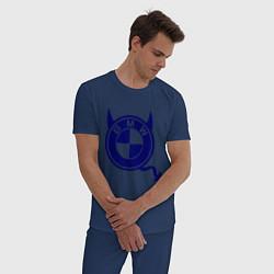 Пижама хлопковая мужская Bmw цвета тёмно-синий — фото 2